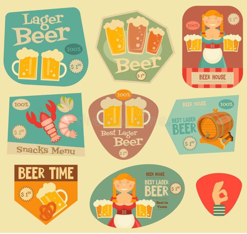 Etiquetas engomadas de la cerveza ilustración del vector