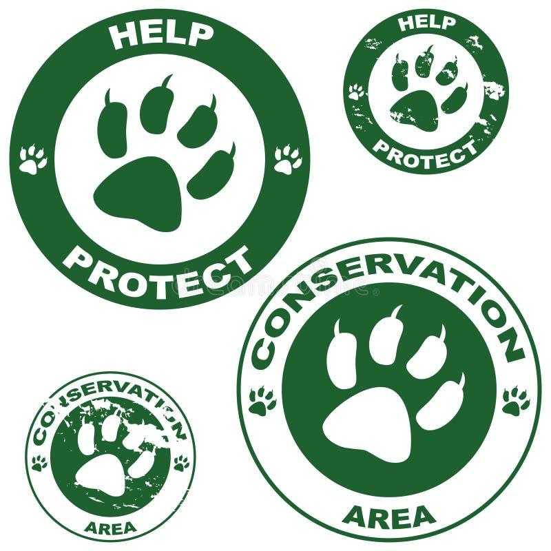 Etiquetas engomadas de la conservación stock de ilustración