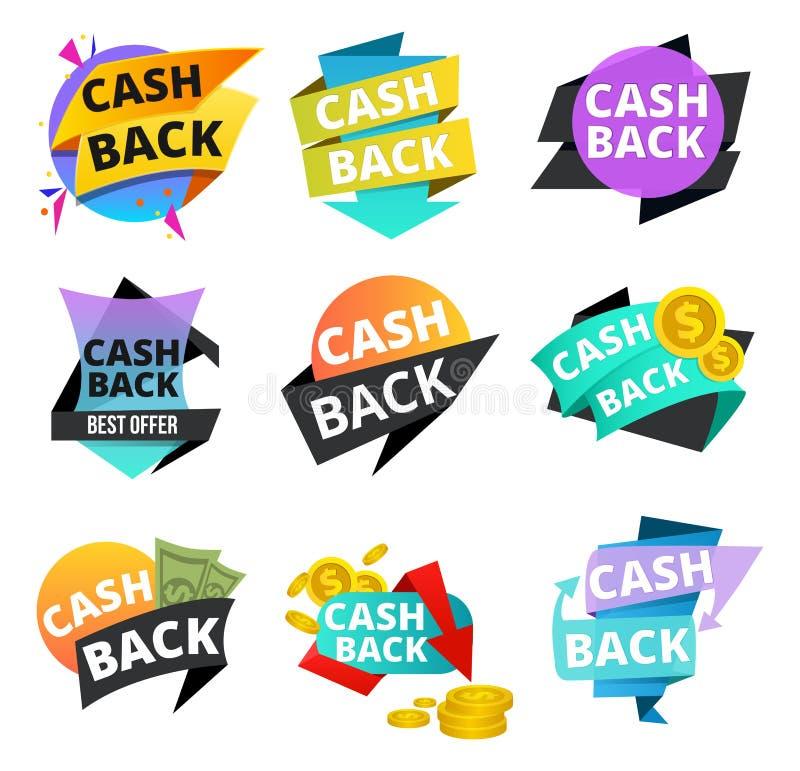 Etiquetas engomadas de la devolución de efectivo y sistema de la bandera Iconos y etiquetas del dinero para la devolución de efec stock de ilustración