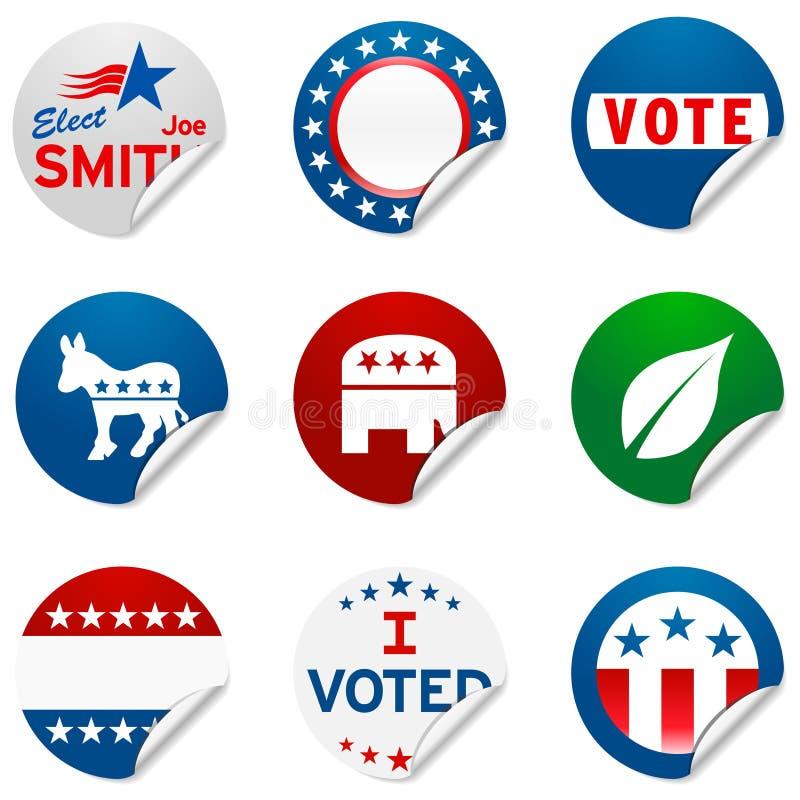 Etiquetas engomadas de la elección de la campaña ilustración del vector