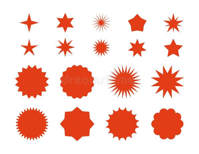 Etiquetas engomadas de la explosi?n de la estrella Insignia retra roja de la venta, siluetas planas de los precios, plantilla gr? stock de ilustración
