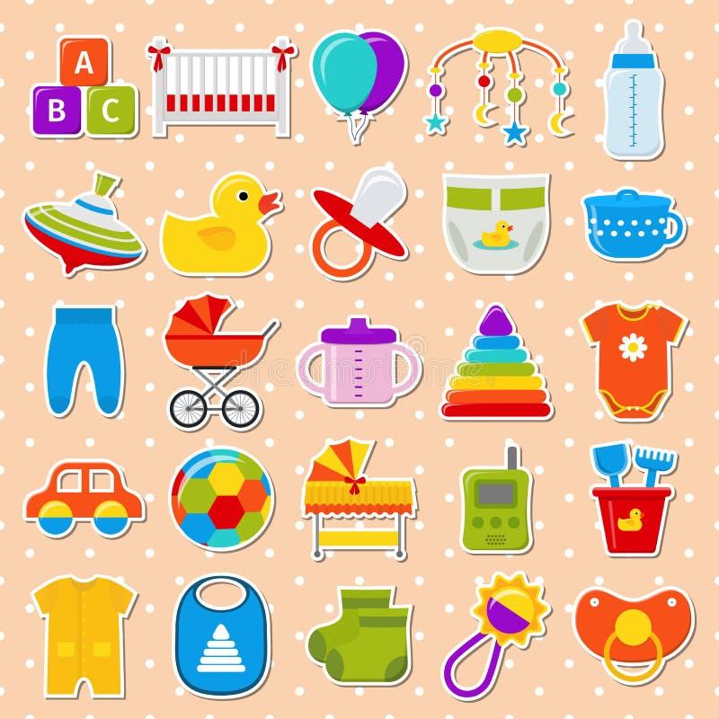 Etiquetas engomadas de la fiesta de bienvenida al bebé Fije los iconos Ilustración del vector libre illustration