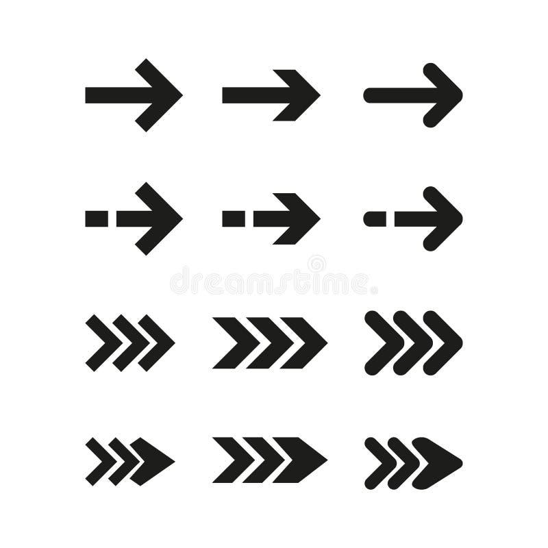 Etiquetas engomadas de la flecha del negro del vector Ilustración del vector ilustración del vector