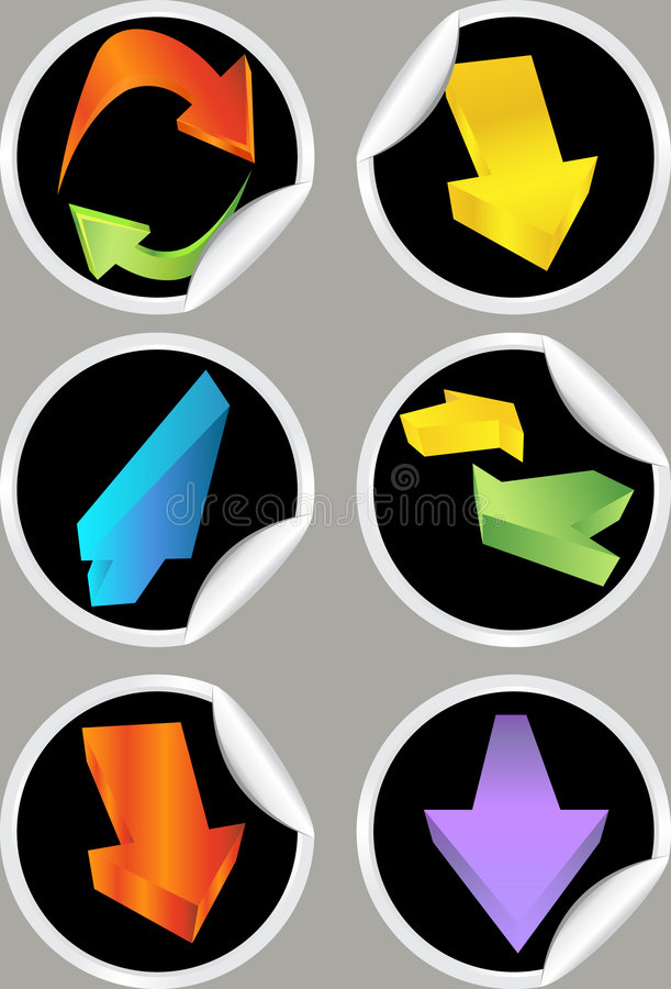Etiquetas engomadas de la flecha direccional stock de ilustración