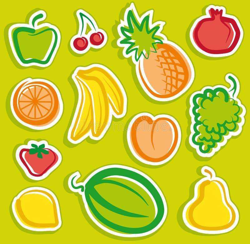 Etiquetas engomadas de la fruta stock de ilustración