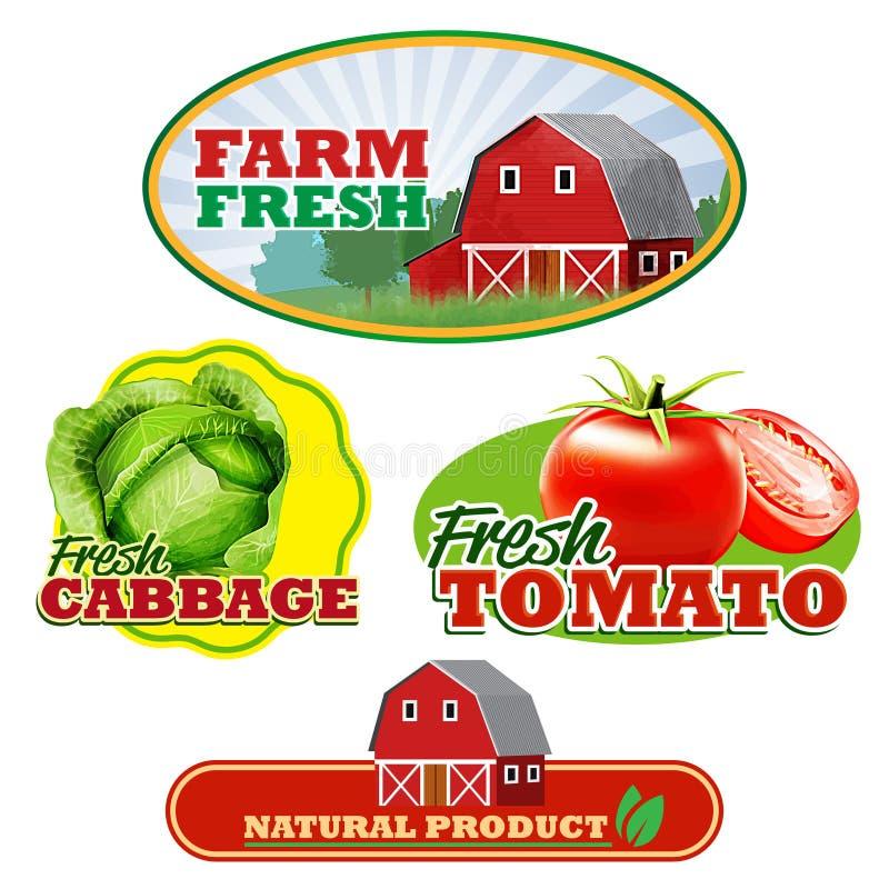 Etiquetas engomadas de la granja ilustración del vector