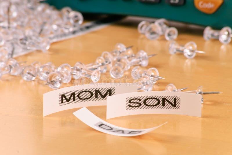 Etiquetas engomadas de la mama y del hijo foto de archivo libre de regalías
