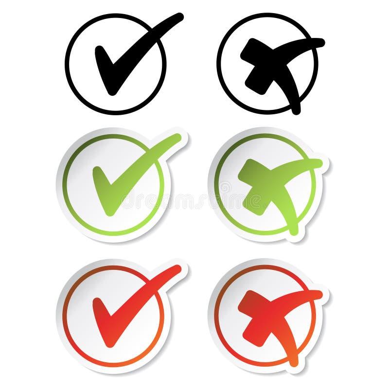 Etiquetas engomadas de la marca de verificación del vector stock de ilustración