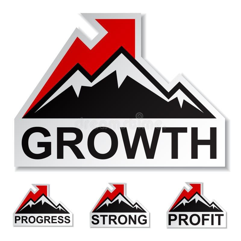 Etiquetas engomadas de la montaña del invierno del crecimiento de beneficio ilustración del vector