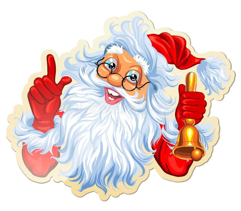 Etiquetas engomadas de la Navidad con Papá Noel stock de ilustración