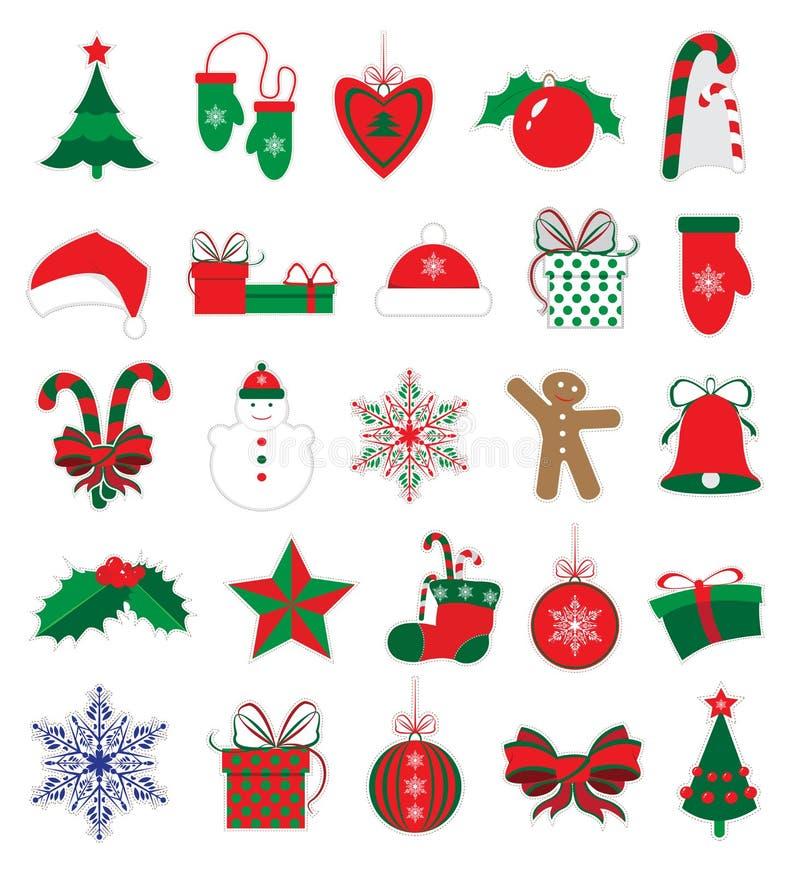 Etiquetas engomadas de la Navidad y del Año Nuevo fijadas imágenes de archivo libres de regalías
