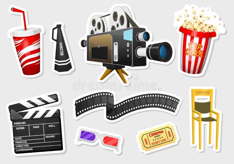 Etiquetas engomadas de la película Cine, entretenimiento y reconstrucción del vintage con palomitas Fondo retro del cartel Clappe libre illustration
