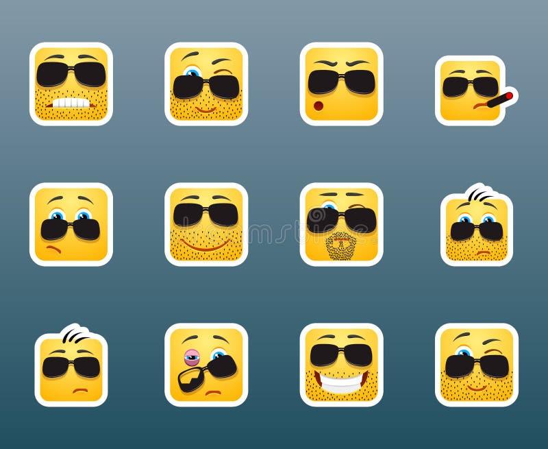 Etiquetas engomadas de la sonrisa de las gafas de sol fijadas stock de ilustración
