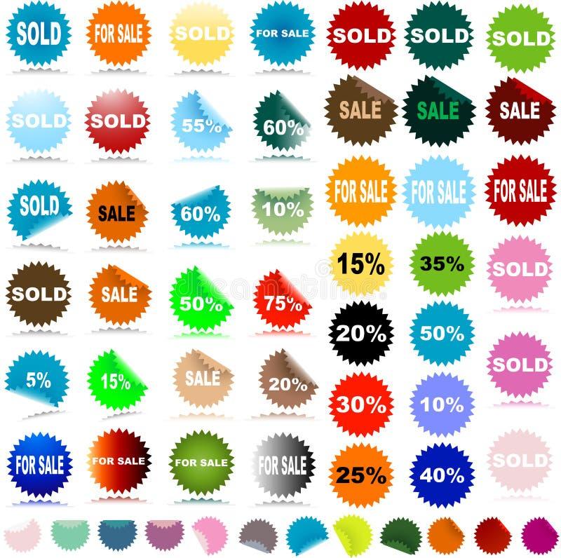 Etiquetas engomadas de la venta ilustración del vector