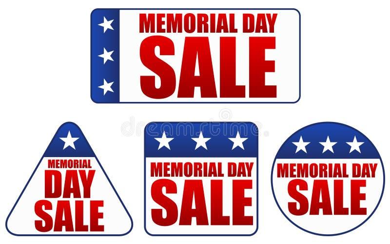 Etiquetas engomadas de la venta del Memorial Day stock de ilustración