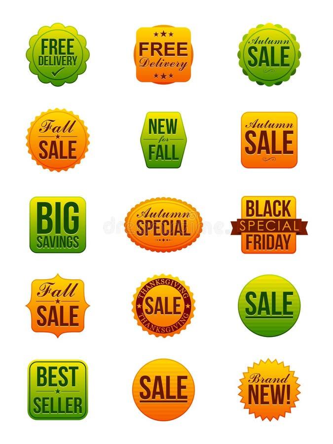Etiquetas engomadas de la venta del otoño ilustración del vector