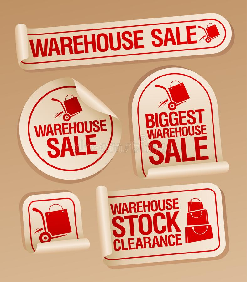 Etiquetas engomadas de la venta de Warehouse con el camión de mano ilustración del vector