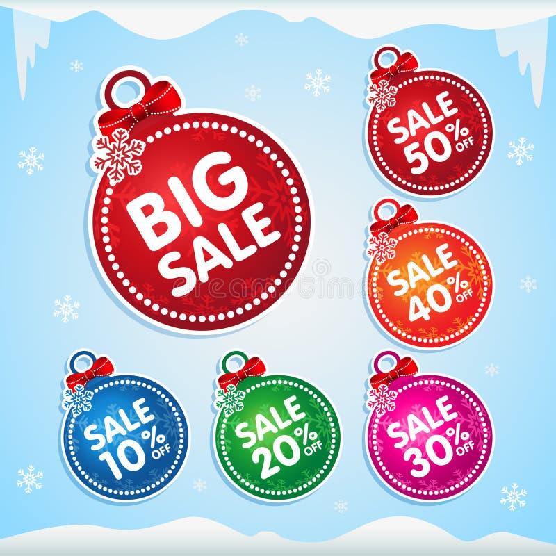 Etiquetas engomadas de las bolas de la Navidad para la venta de la Navidad con el por ciento apagado ilustración del vector