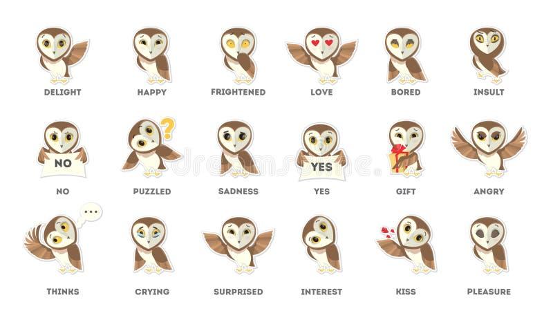 Etiquetas engomadas de las emociones del búho stock de ilustración
