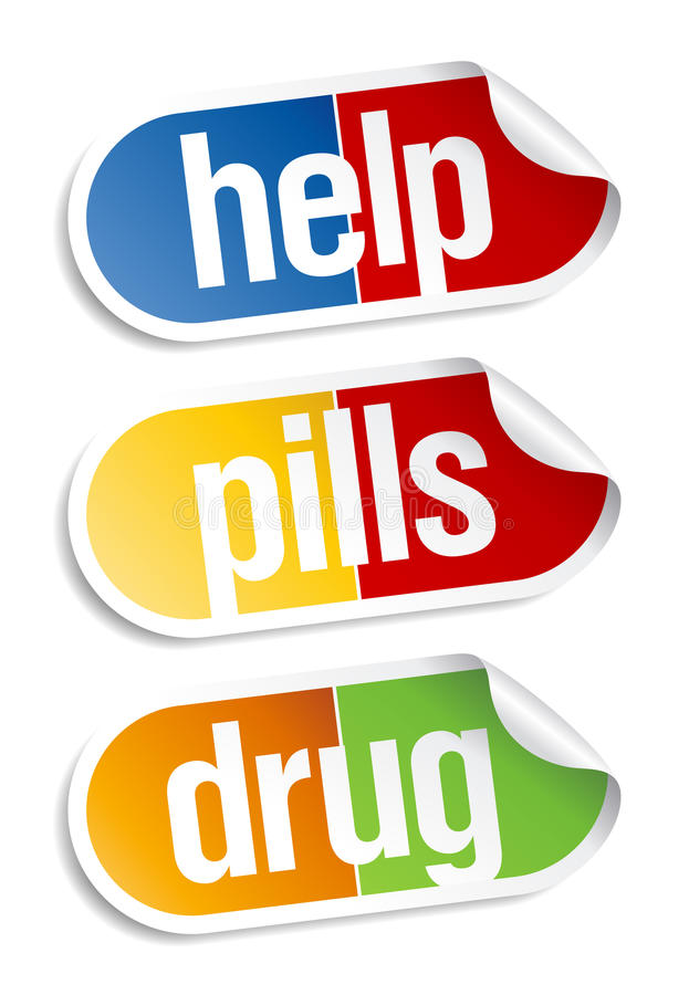 Etiquetas engomadas de las píldoras. stock de ilustración