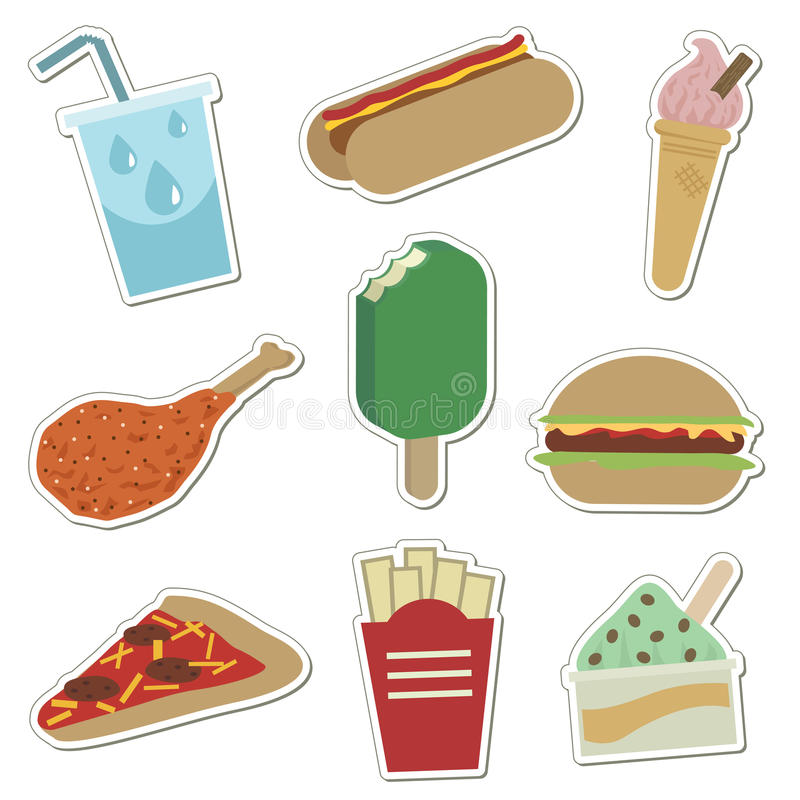 Etiquetas engomadas de los alimentos de preparación rápida ilustración del vector