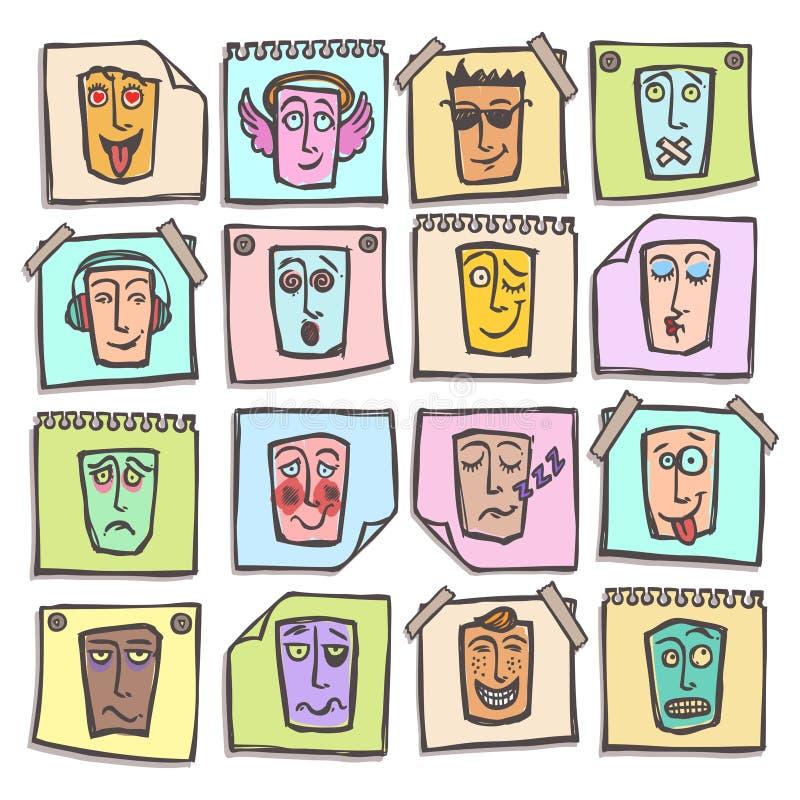 Etiquetas engomadas de los emoticons del bosquejo fijadas stock de ilustración