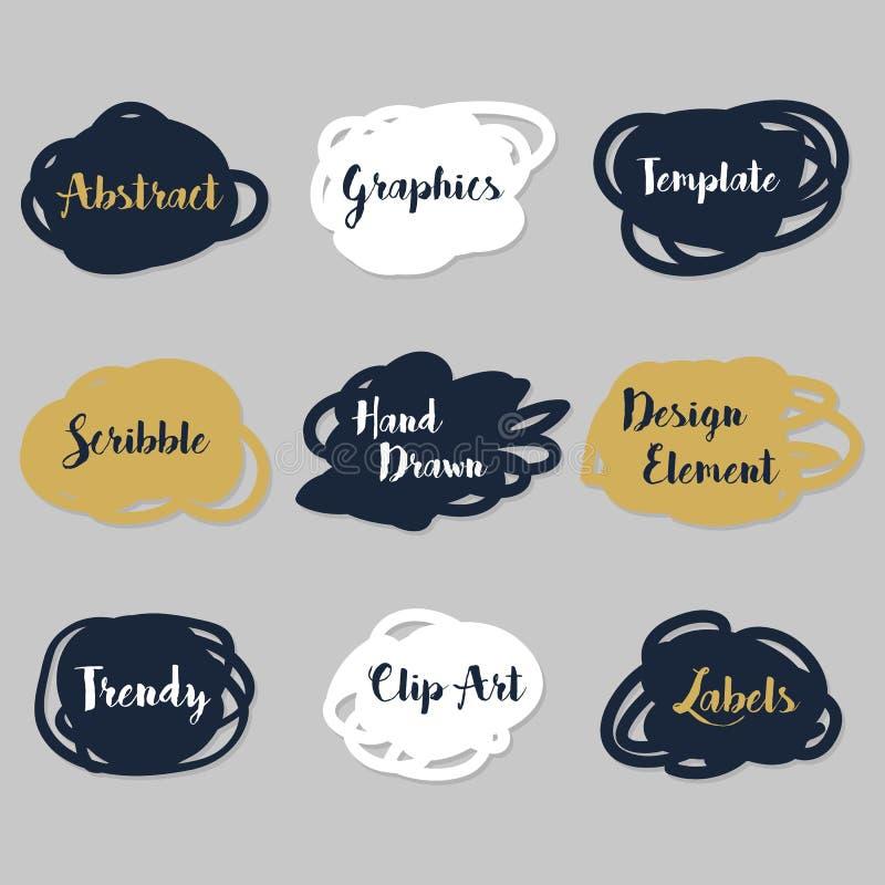 Etiquetas engomadas de oro, de las azules marinos, y blancas de las formas irregulares fijadas ilustración del vector