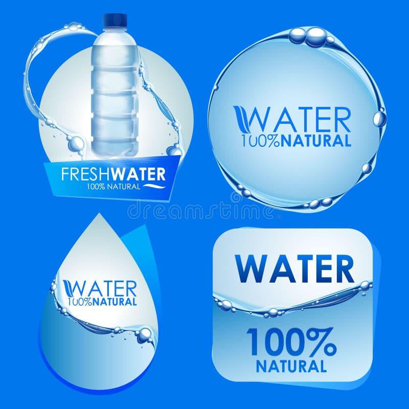 Etiquetas engomadas del agua ilustración del vector