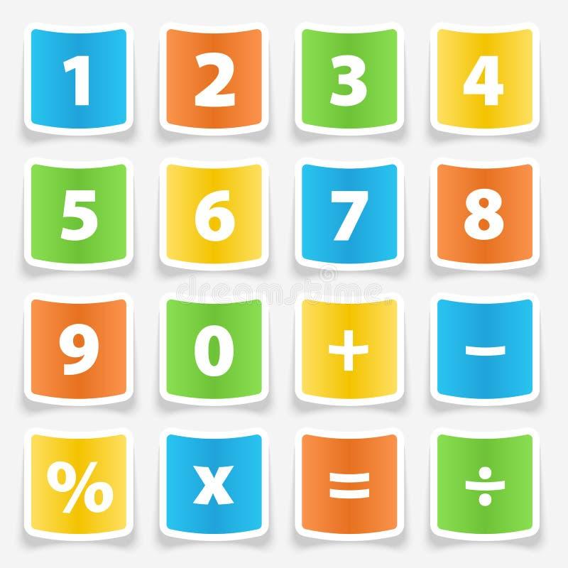 Etiquetas engomadas del botón de la calculadora stock de ilustración