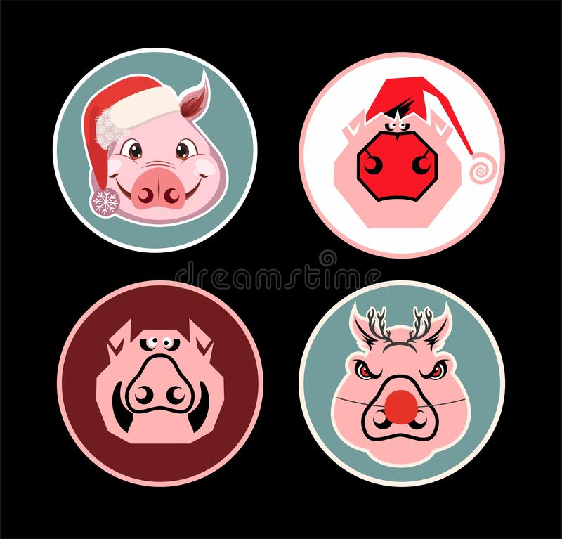 Etiquetas engomadas del cerdo de la Navidad stock de ilustración