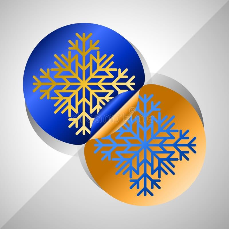 Etiquetas engomadas del copo de nieve libre illustration