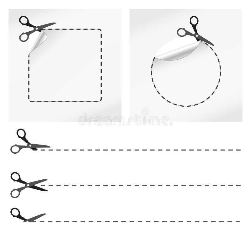 Etiquetas engomadas del corte de las tijeras ilustración del vector