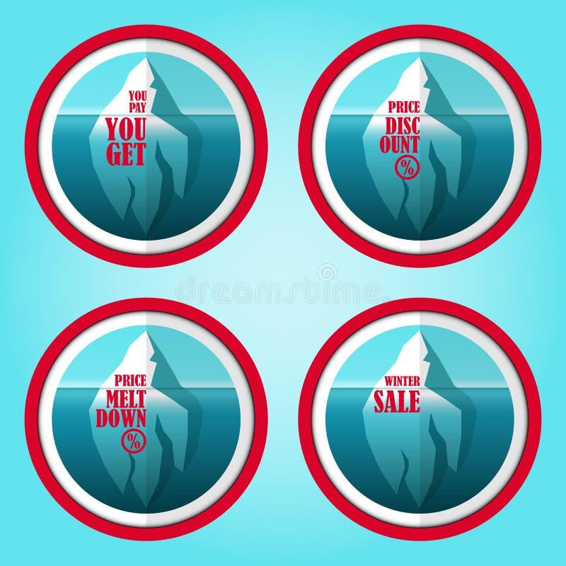 Etiquetas engomadas del descuento del iceberg fijadas stock de ilustración