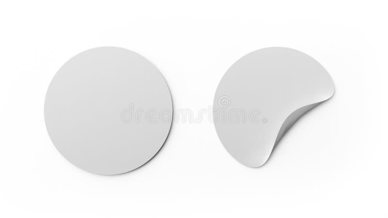 Etiquetas engomadas del espacio en blanco o plantilla redondas blancas de la etiqueta aislada en el fondo blanco Diseño ascendent ilustración del vector