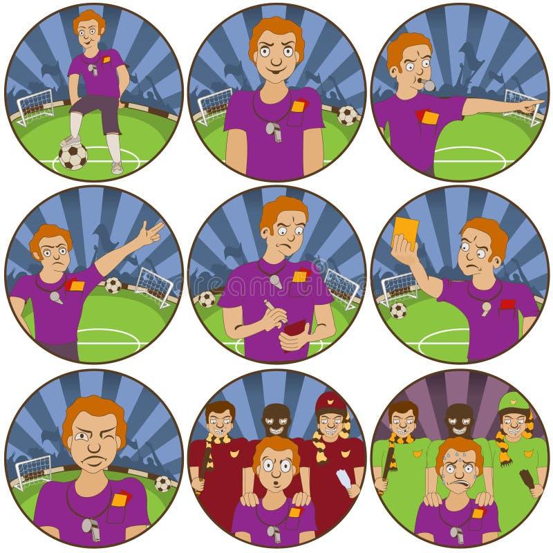 Etiquetas engomadas del fútbol del árbitro libre illustration