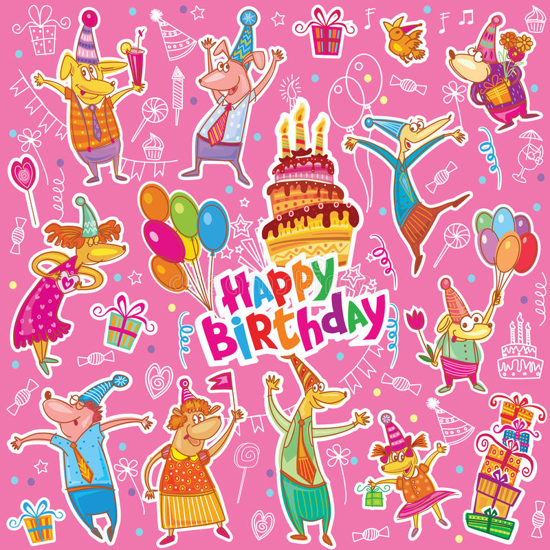 Etiquetas engomadas del feliz cumpleaños libre illustration