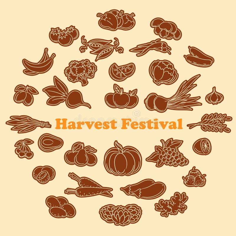 Etiquetas engomadas del festival de la cosecha fijadas libre illustration