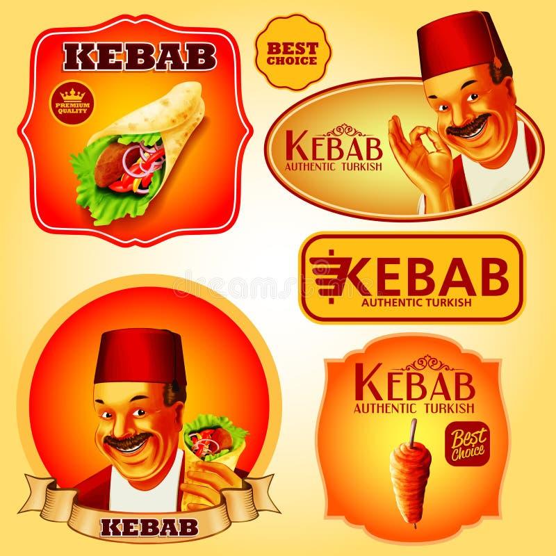 Etiquetas engomadas del kebab imagen de archivo