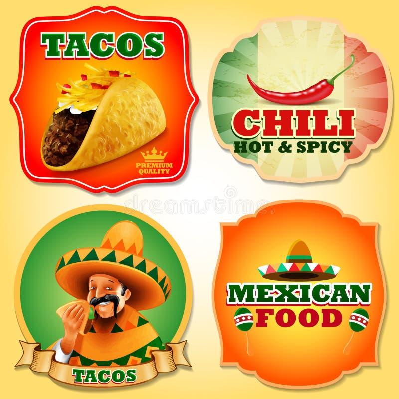 ETIQUETAS ENGOMADAS del mexicano de los tacos libre illustration