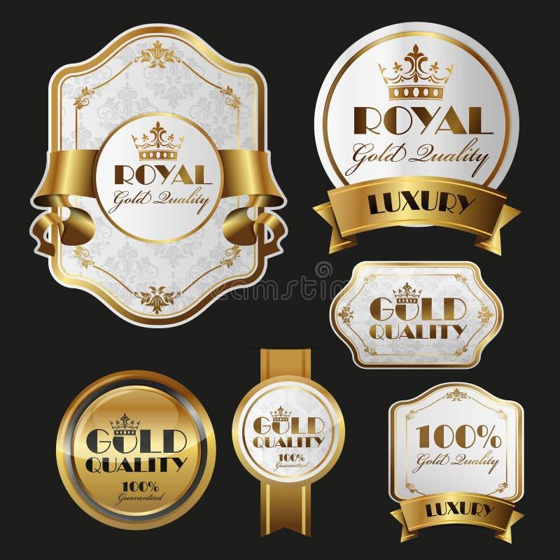 Etiquetas engomadas del oro stock de ilustración