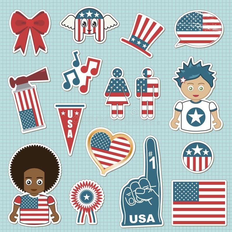 Etiquetas engomadas del partidario de los E.E.U.U. libre illustration