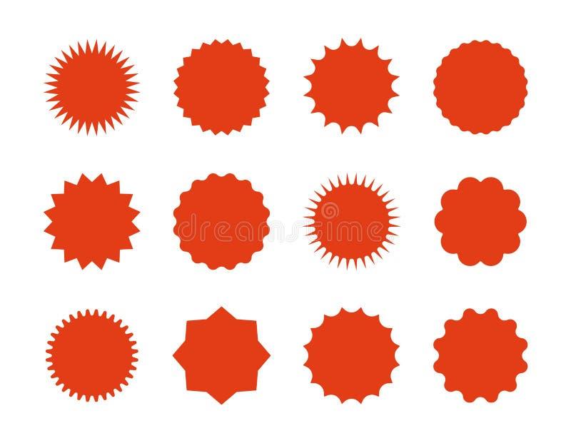 Etiquetas engomadas del precio de Starburst Banderas de la venta de la estrella, muestras rojas de la explosión, burbujas del dis stock de ilustración