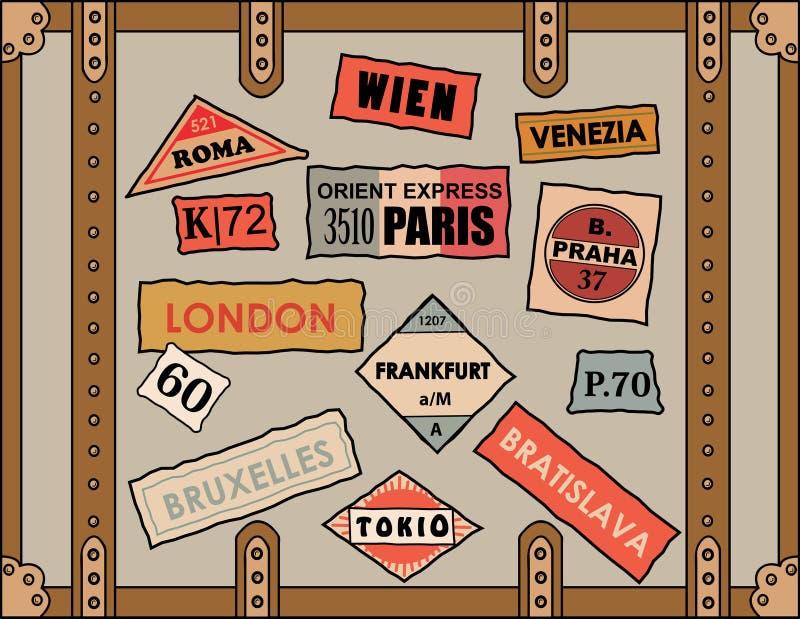 Etiquetas engomadas del recorrido libre illustration