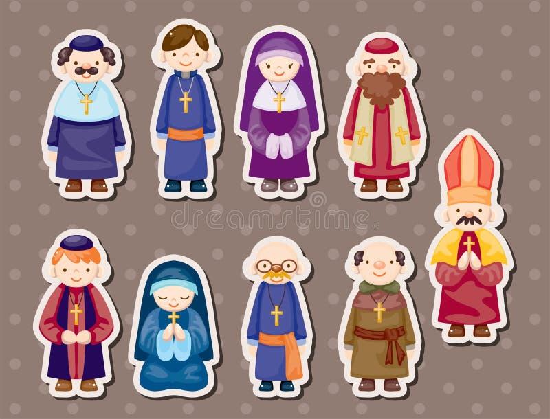 Etiquetas engomadas del sacerdote de la historieta stock de ilustración