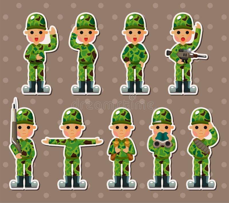 Etiquetas engomadas del soldado ilustración del vector