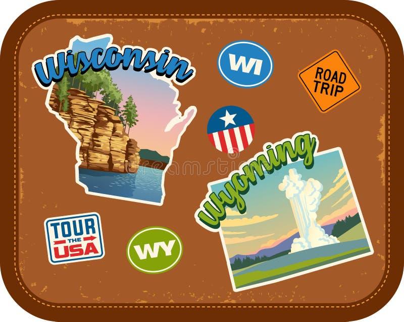 Etiquetas engomadas del viaje de Wisconsin, Wyoming con las atracciones escénicas ilustración del vector
