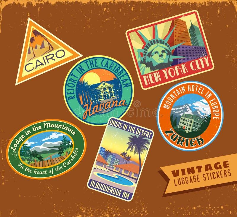 Etiquetas engomadas del viaje del equipaje del vintage en la textura de cuero stock de ilustración