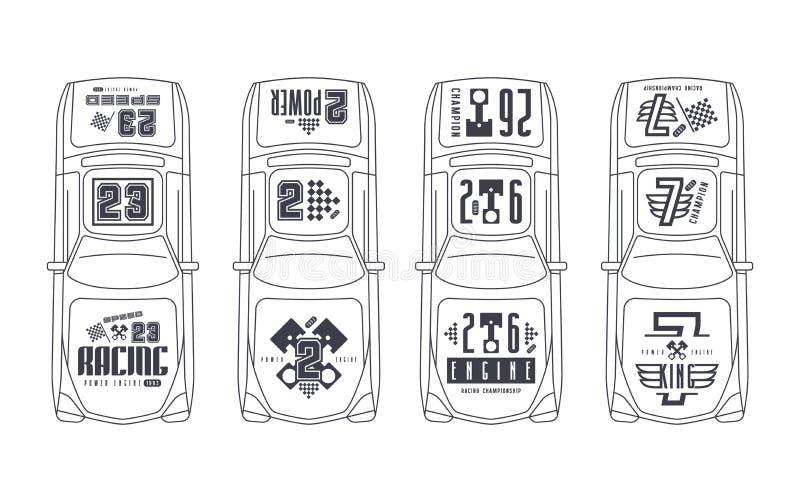 Etiquetas engomadas del vinilo en el coche de carreras stock de ilustración