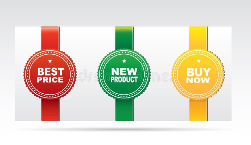 Etiquetas engomadas - el mejor precio, nuevo producto, compra ahora stock de ilustración