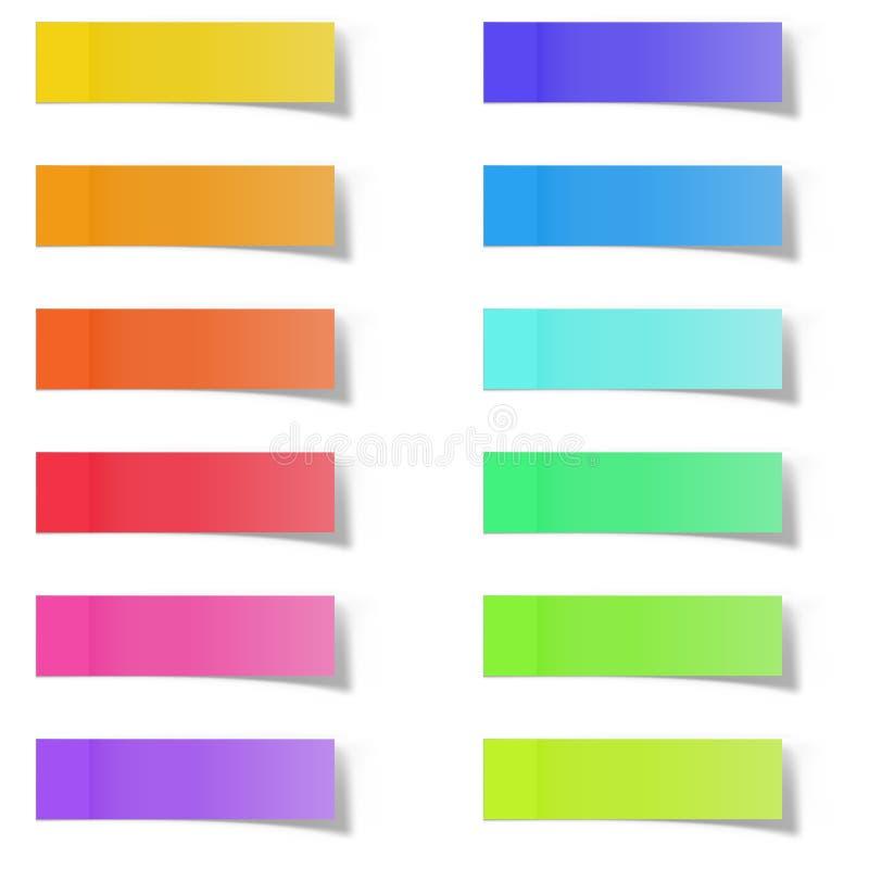 Etiquetas engomadas en blanco de la nota de la nota del color stock de ilustración